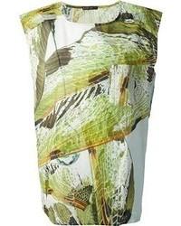Olive Print Sleeveless Top
