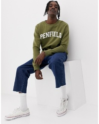 Penfield Stowe Collegiate Logo Crewneck Sweatshirt In Green