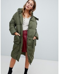 Missguided Longline Padded Jacket In Khaki