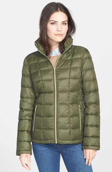 ... Olive Puffer Jackets MICHAEL Michael Kors Michl Michl Kors Front Zip  Hooded Down Jacket ... 7ca1206ab54c