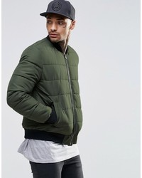 Brand quilted bomber jacket in khaki medium 618124
