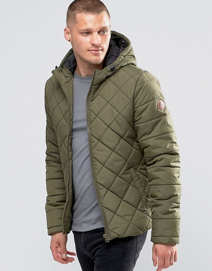 Blend Of America Blend Hooded Quilted Jacket Ivy Green Where To
