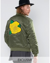 Reclaimed Vintage Satin Ma1 Bomber Jacket With Rose Back Patch