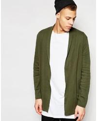 Asos Brand Super Longline Jersey Cardigan In Khaki