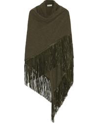 Barbajada fringed leather and cashmere wrap medium 377675