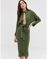 ASOS DESIGN Long Sleeve Wrap Shirt Midi Dress