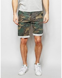 Asos Brand Slim Washed Shorts In Camo