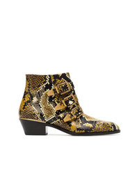Chloé Yellow And Black Susanna 30 Python Print Leather Boots Unavailable