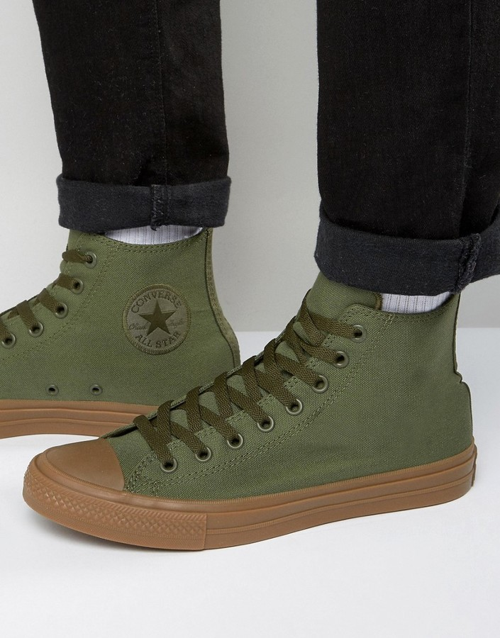 b30055765372 ... Converse Chuck Taylor All Star Ii Hi Sneakers With Gum Sole In Green  155498c ...