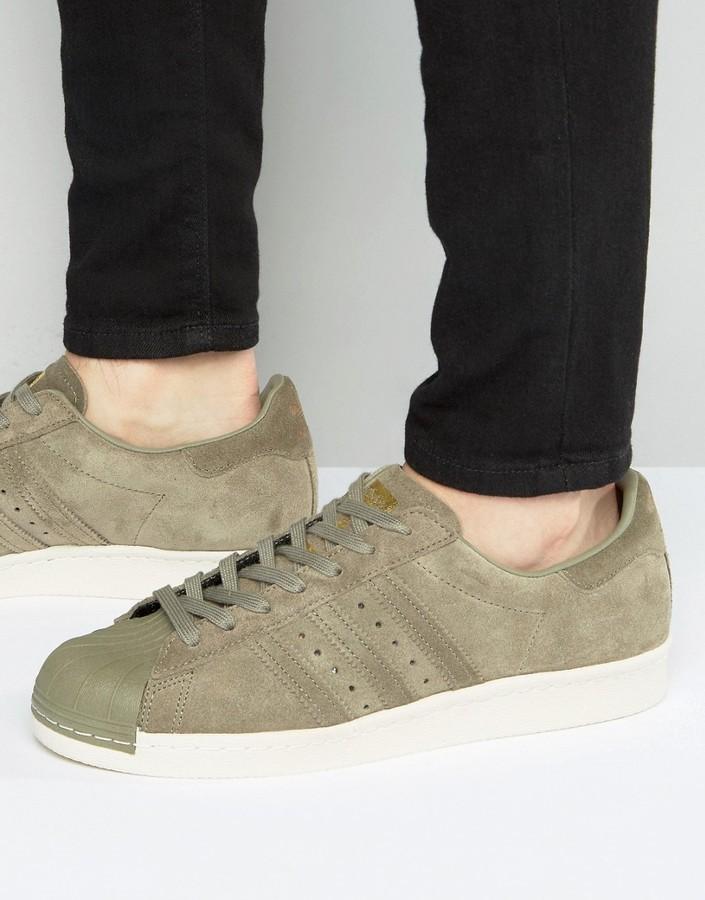hot sale online a4713 47924 £57, adidas Originals Superstar 80s Sneakers In Green Bb2226