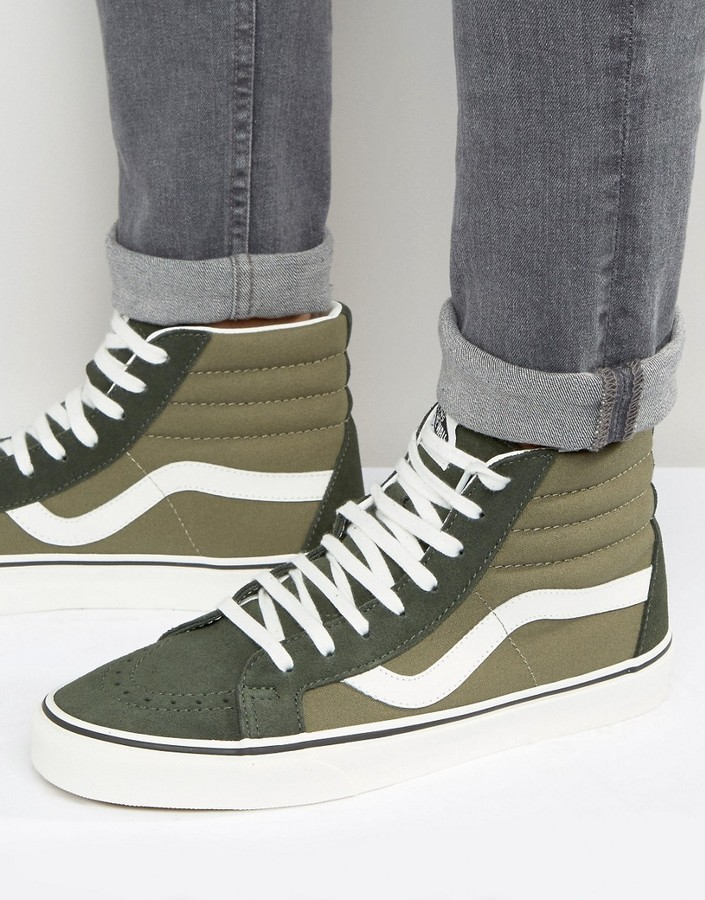 vans sk8 hi canvas green