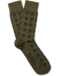 Alexander McQueen Skull Patterned Cotton Blend Jacquard Socks