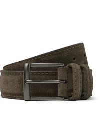 ANDERSON'S 3cm Dark Green Suede Belt