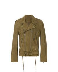 Olive Suede Biker Jacket