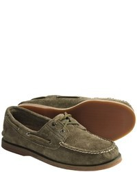 Olive Suede Boat Shoes