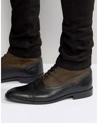 Lace up boots in leather and suede mix with toe cap medium 737417