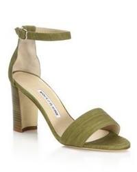 Olive Suede Heeled Sandals