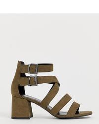 New Look Multi Low Block Sandal In Khaki