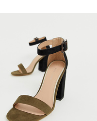 New Look Two Tone Block Heeled Sandal In Green