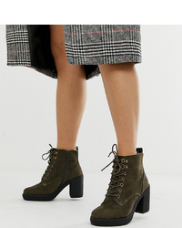 New Look Wide Fit Suedette Heeled Boot In Khaki