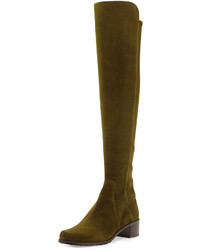 Olive Suede Over The Knee Boots