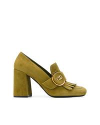 Prada D Block Heel Loafers