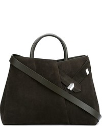Olive Suede Tote Bag
