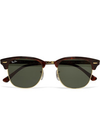 Ray-Ban Clubmaster Acetate And Gold Tone Sunglasses