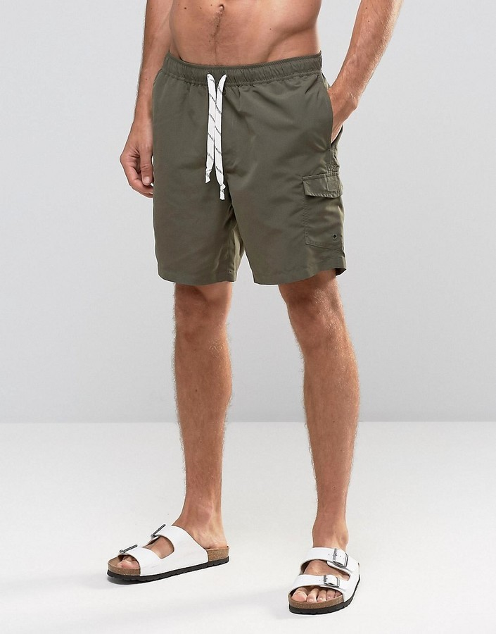 d3d9062a9b8ce ... Olive Swim Shorts Asos Swim Shorts With Cargo Pocket And Drawcord  Detail In Khaki Mid Length ...