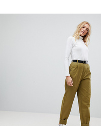 Asos Tall Asos Design Tall Curved Seam Tapered Casual Trousers With Belt