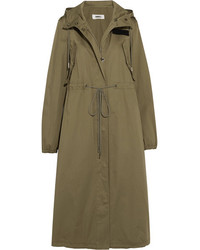 MM6 MAISON MARGIELA Hooded Cotton Gabardine Trench Coat Army Green