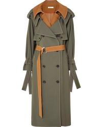 Adeam Layered Wool Blend Gabardine Trench Coat