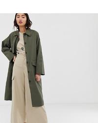 Monki Oversized Utility Style Lightweight Coat In Khaki