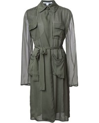 Diane von Furstenberg Sheer Sleeve Trench Coat