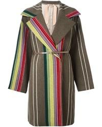 No.21 No21 Vertical Stripes Mid Length Coat