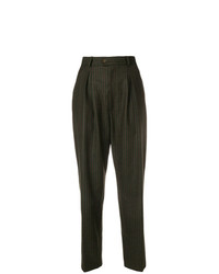 Yves Saint Laurent Vintage Pinstriped High Rise Tapered Trousers