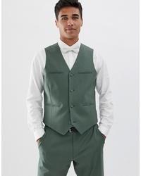 ASOS DESIGN Slim Suit Waistcoat In Sage Green