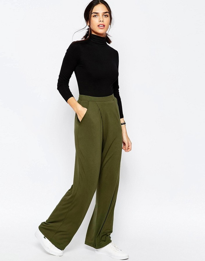 eed577f3ae063 ... Asos Jersey Wide Leg Pants With Wrap Front ...
