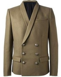 Olive Wool Double Breasted Blazer