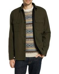 Olive Wool Shirt Jacket