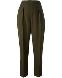 Olive Wool Tapered Pants