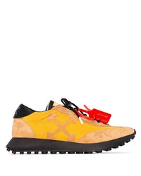 Off-White Yellow And Black Running Logo Sneakers