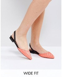 Asos Liar Wide Fit Pointed Ballet Flats