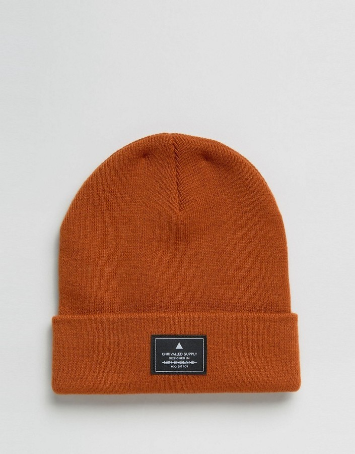 a402cf26392 Asos Patch Beanie In Orange, £9 | Asos | Lookastic UK