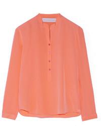 Stella McCartney Eva Silk Crepe De Chine Blouse Orange