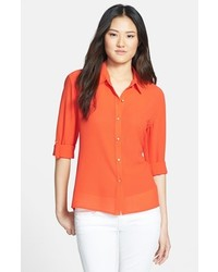 KUT from the Kloth Roll Sleeve Blouse Orange Medium