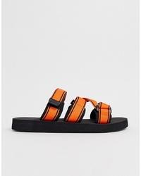 ASOS DESIGN Tech Sandals In Black With Orange Tape S