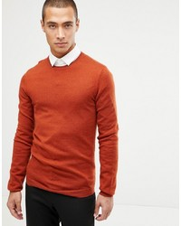 ASOS DESIGN Muscle Fit Merino Wool Jumper In Rust