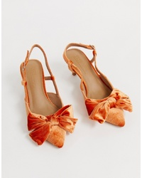 ASOS DESIGN Sherry Bow Kitten Heels In Burnt Orange