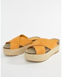 Mango Flatform Espadrille Slider In Yellow